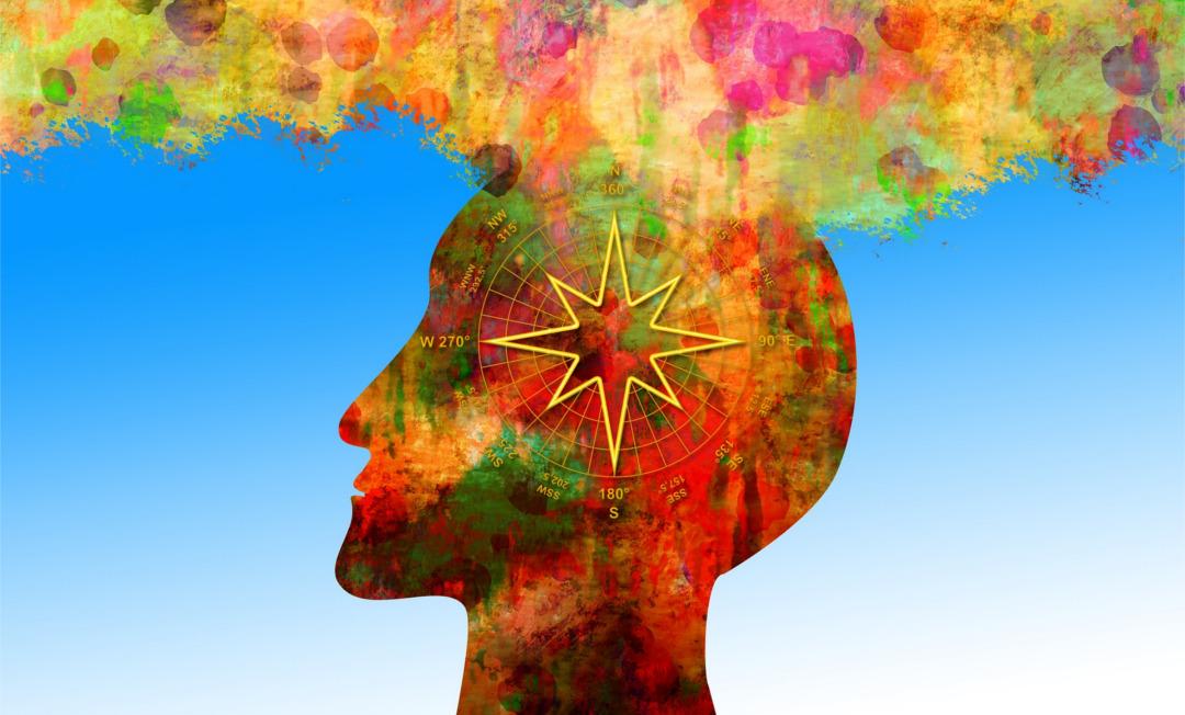 Das Bild zeigt den Kopf eines Menschen, der einen Kompass enthält und in den eine Fülle von Informationen und Eindrücken fließt. Unternehmen müssen bunt werden!