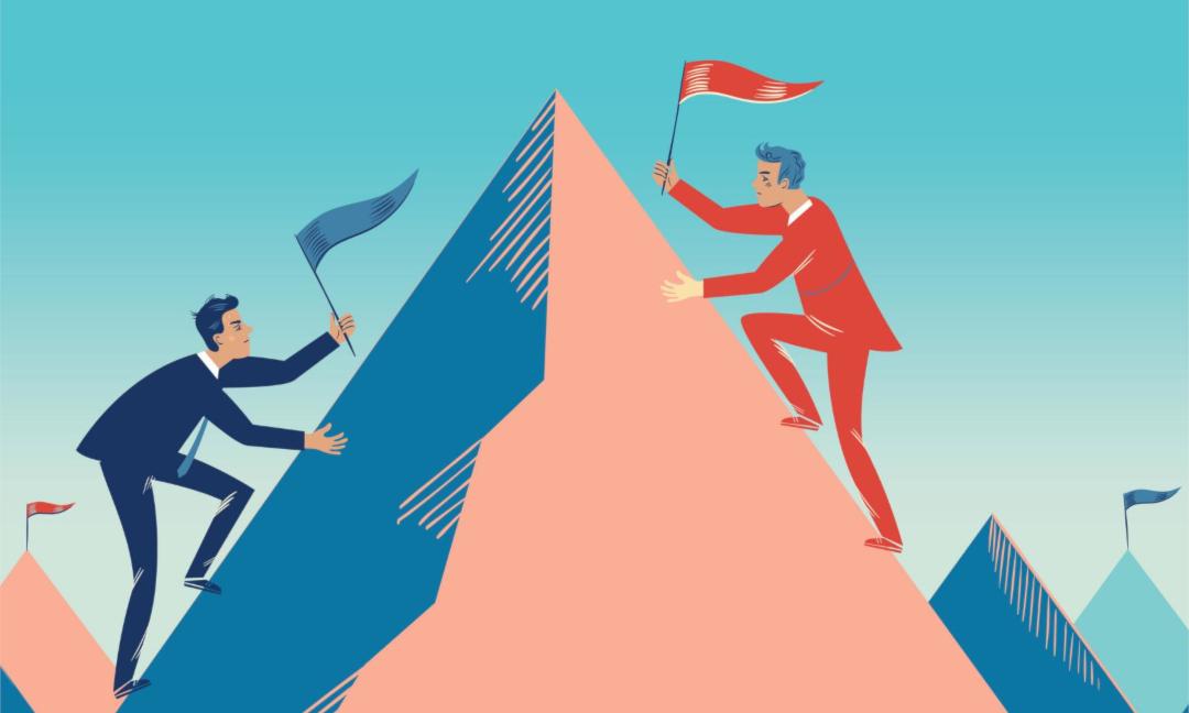Das Bild zeigt zwei Männer, die darum konkurrieren, als erster die Bergspitze zu erreichen, um dort die eigene Fahne zu platzieren. Das Ziel ist zu gewinnen. Aber Sinnverwirklichung ist kraftvoller als Gewinnen-Wollen.m